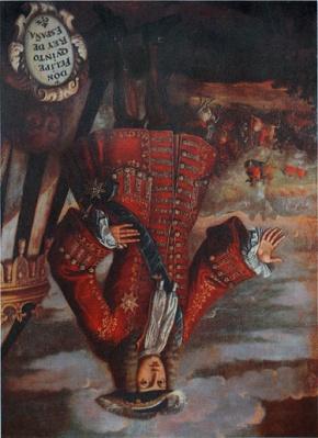 Retrat_de_Felip_Vé_exposat_cap_per_avall_al_Museu_de_l'Almodí_de_Xàtiva_per_haver_incendiat_la_ciutat_el_1707