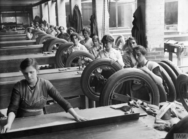 Women at work in Lancashire tyre factory